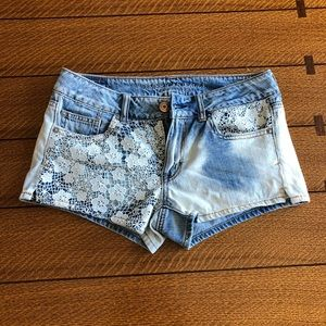 Denim and lace shorts